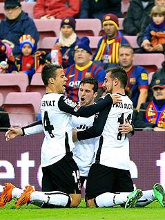 Jubel der Valencia-Spieler