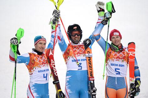 Marcel Hirscher, Mario Matt und Henrik Kristoffersen