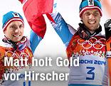 Marcel Hirscher und Mario Matt mit Fahne