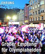 Zuschauer beim offiziellen Empfang der österreichischen Medaillen-Gewinner der Olympischen Winterspiele Sotschi 2014 in Innsbruck