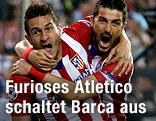 Jubel von Koke und David Villa (Atletico Madrid)