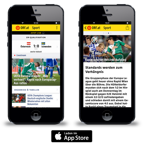 Screenshots der orf at sport app