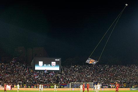 Drohne über dem Spielfeld
