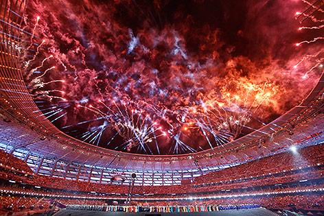 Feuerwerk bei der Eröffnung der Europaspiele