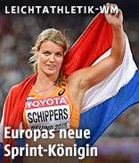 Dafne Schippers mit niederländischer Fahne