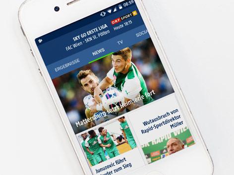 Handy mit der neuen Fußball-App