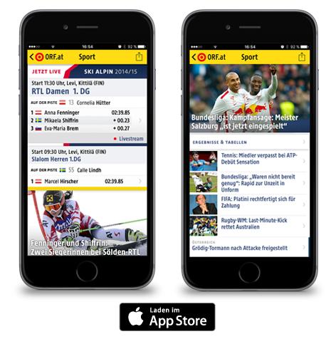 Beispielbilder für die iOS-Version der Sport-App von ORF.at