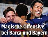 Jubel der Barcelona-Spieler Lionel Messi, Neymar und Luis Suarez