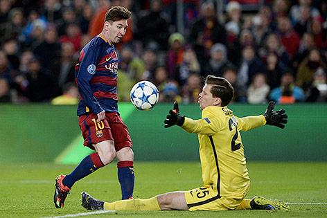 Lionel Messi (Barcelona) erzielt ein Tor
