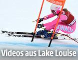 Skifahrerin auf der Piste von Lake Louise