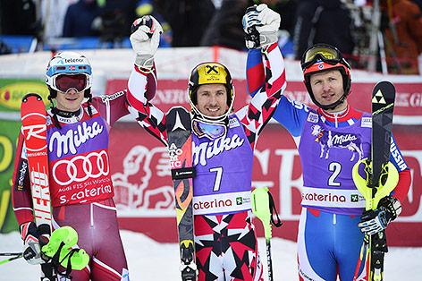 Jubel von Henrik Kristoffersen (NOR), Marcel Hirscher (AUT) und Alexander Choroschilow (RUS)