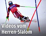 Rückansicht von Henrik Kristoffersen (NOR) im Herren-Slalom