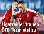 Die ÖFB-Spieler Marcel Sabitzer und Marko Arnautovic