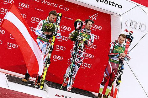 Alexis Pinturault (FRA), Marcel Hirscher (AUT) und Henrik Kristoffersen (NOR)