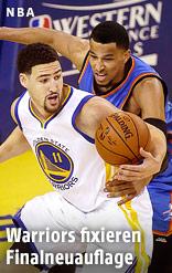 Klay Thompson (Golden State Warriors) und Andre Roberson (Oklahoma City Thunder)