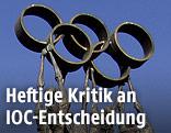 Skulptur mit Olympischen Ringen in Lausanne