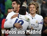 Jubel von Alvaro Morata, Luca Modric und James Rodriguez (alle Real)