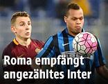 Lucas Digne (AS Roma) und Jonathan Biabiany (Inter Mailand)
