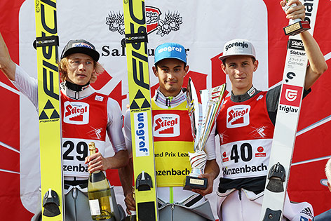 Dawid Kubacki (POL), Maciej Kot (POL) und Peter Prevc (SLO)