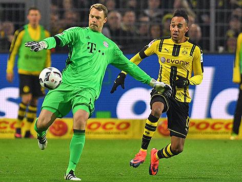 Manuel Neuer (Bayern) und Pierre-Emerick Aubameyang (Dortmund)