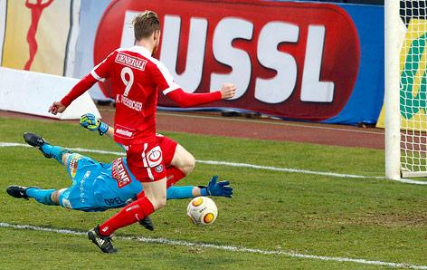 Kevin Friesenbichler (Austria) erzielt das 3:0 gegen den WAC