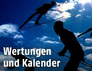 Montage mit nordischen Kombinierern beim Langlaufen und Springen