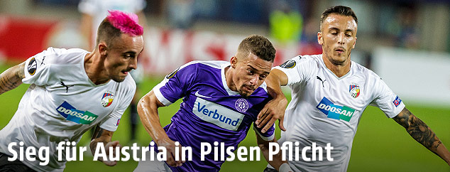 Szene aus dem Spiel FK Austria Wien - Viktoria Pilsen