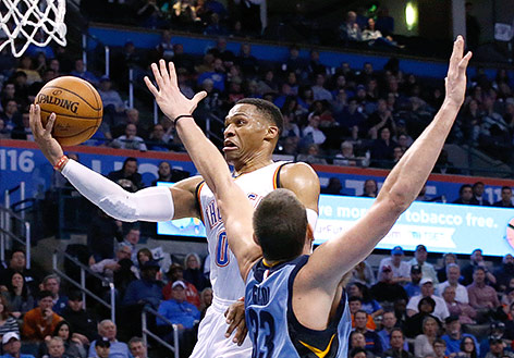 Russell Westbrook (Oklahoma City Thunder) erzielt einen Punkt