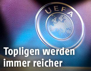 Bestrahltes UEFA-Logo
