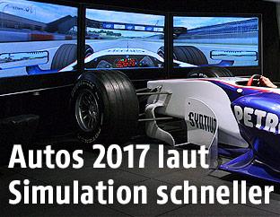 Formel-1-Wagen vor einem Simulator