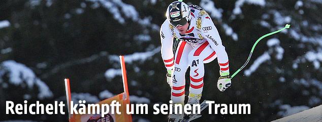 Hannes Reichelt beim Abfahrtstraining von Kvitfjell