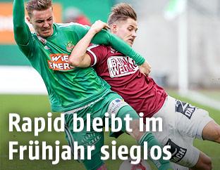 Mario Pavelic (Rapid) und Thorsten Roecher (Mattersburg)