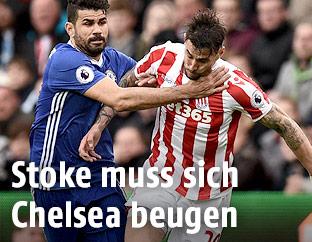 Diego Costa (Chelsea) und Geoff Cameron (Stoke)