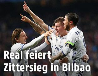 Luka Modric, Toni Kroos und Sergio Ramos (Real)
