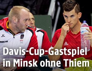Österreichs Davis-Cup-Kapitän Stefan Koubek und Dominic Thiem