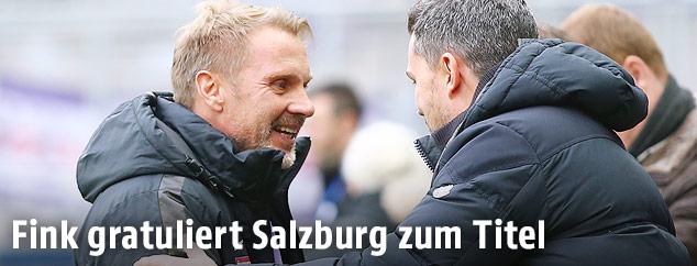 Thorsten Fink (A.Wien) und Oscar Garcia (RBS)