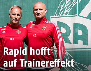 Die neuen interimistischen Rapid-Trainer Goran Djuricin und Martin Bernhard