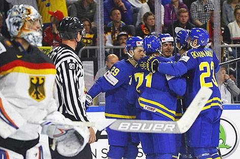 Jubel der schwedischen Eishockeymannschaft