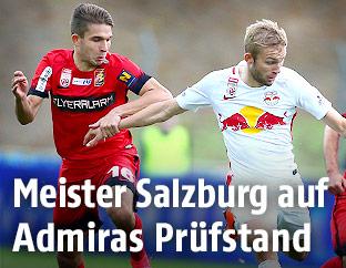 Patrick Schmidt (Admira) und Konrad Laimer (RBS)