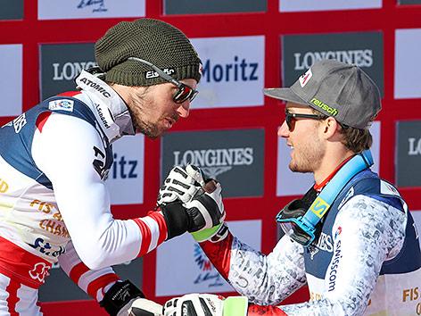 Marcel Hirscher (AUT) und Luca Aerni (SUI)