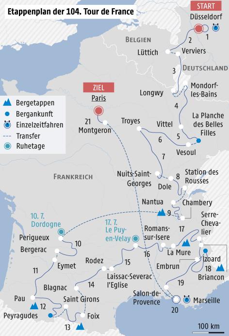 Landkarte zeigt den Streckenverlauf der Tour de France