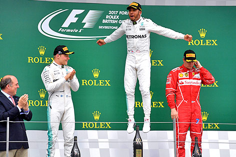 Siegerpodest von Silverstone mit Valtteri Bottas, Lewis Hamilton und Kimi Räikkönen