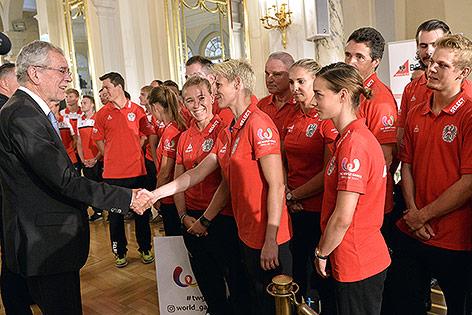 Bundespräsident Alexander van der Bellen während der Verabschiedung des  Österreichs Teams für die 10. World Games