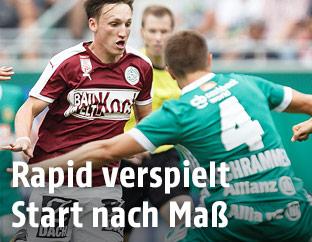 Eren Keles (Rapid), Julius Ertlthaler (Mattersburg) und Thomas Schrammel (Rapid)
