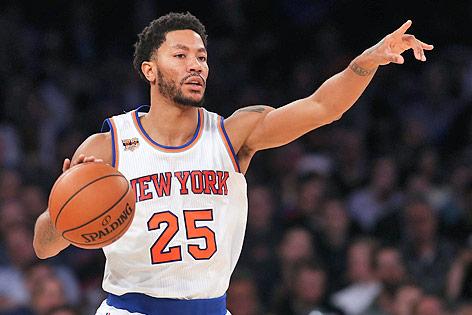 NBA-Basketballer Derrick Rose im Trikot der New York Knicks