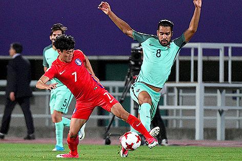 Lee Jin-Hyun (KOR) und Pedro Delgado (POR) bei der U20-WM 2017