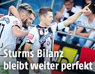 Deni Alar (Sturm) jubelt mit Spielerkollegen