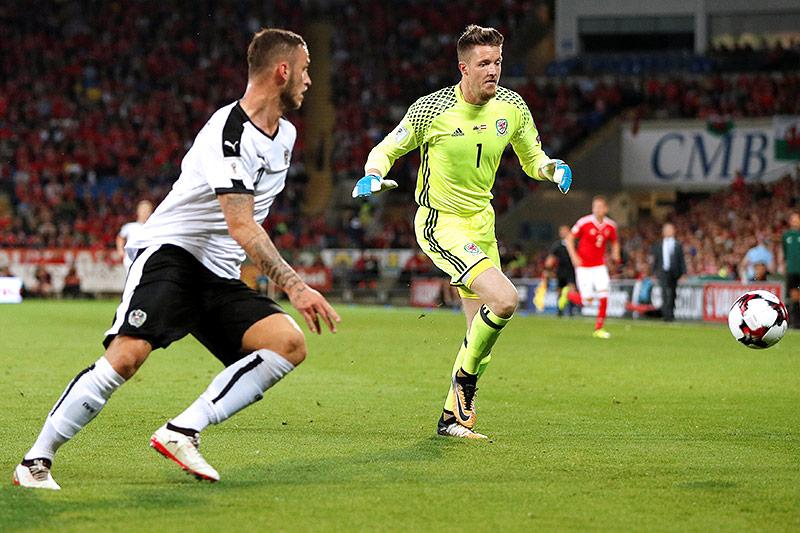 Szene aus dem Match Österreich gegen Wales