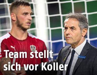 ÖFB-Coach Marcel Koller mit Marko Arnautovic
