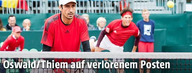 Philipp Oswald und Dominic Thiem im Doppel gegen Rumänien